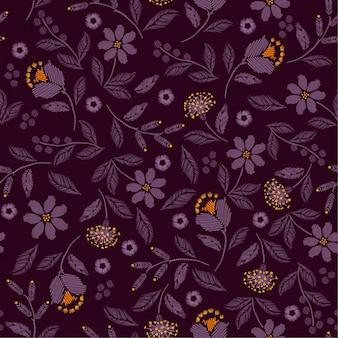 美しい野生の花の刺繍シームレスパターン