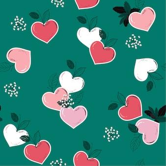 季節の愛のシームレスなパターンベクトルのハート形の美しいフルーティー