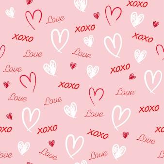 甘い愛の言葉で描かれたシームレスパターン