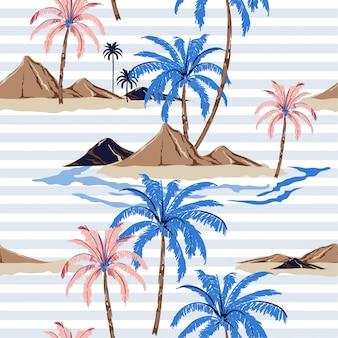 パステルカラーのストライプとのシームレスな熱帯の島のパターン。