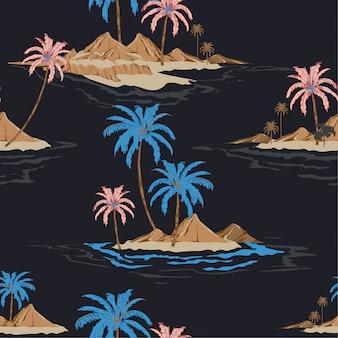 夏の夜の熱帯の島の手描画スタイルシームレスパターンベクトル私