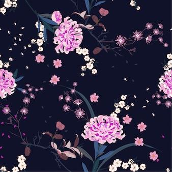 シームレスパターンベクトルオリエンタルガーデンの花