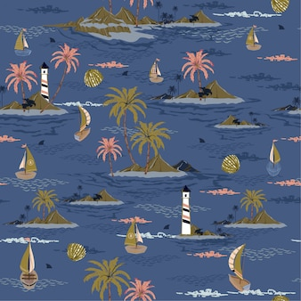 Бесшовные остров шаблон пейзаж с пальмами