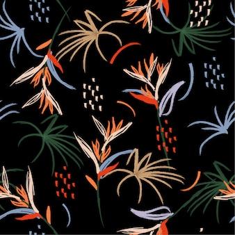カラフルな森の花のブラシのシームレスパターン手描き