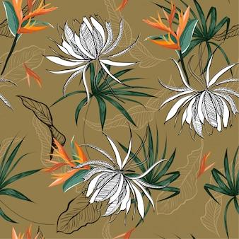 夏のエキゾチックな花のシームレスパターン