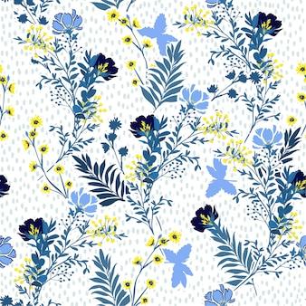 シームレスなベクトルパターン手のベクトルイラストには、青と黄色の牧草地の花と葉が描かれています。