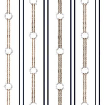 手でシームレスなベクトルパターン背景描画チェーン、および垂直ストライプデザインの夏の航海ロープ