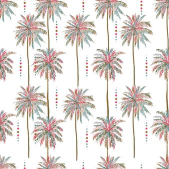 Красивые бесшовные векторные летние красочные пальмы шаблон