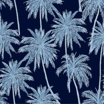 夏のモノトーンブルーの色合いシームレスな青いヤシの木パターンはネイビーブルーの背景に。