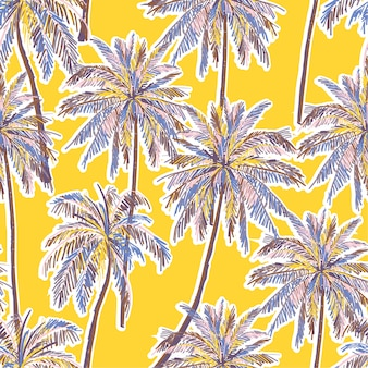 鮮やかな黄色の背景に明るい夏シームレスなカラフルなヤシの木パターン。