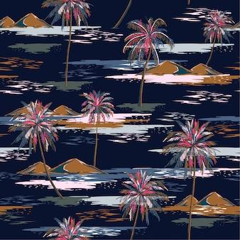 暗い夏の夜のシームレスな島パターンカラフルなヤシの木のある風景