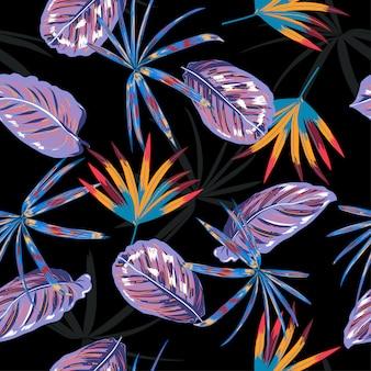 Летний темный бесшовные модели вектор, красочные тропические ночные листья и растения в диком лесу