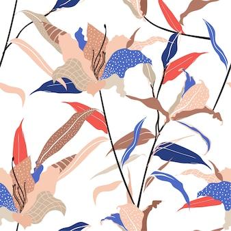 カラフルでトレンディなモダンな手描きのユリの花ラインと水玉スケッチで記入します。シームレスパターンベクトル、