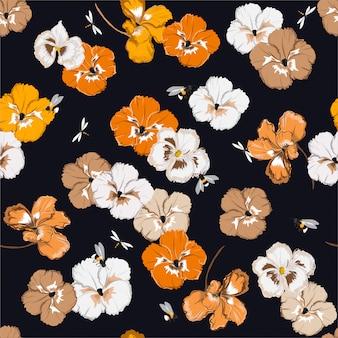 マルハナバチとファッション、布、ウェブ、壁紙、およびすべての版画のベクトルイラストデザインのトンボの庭でカラフルなパンジーの花とのシームレスなパターン