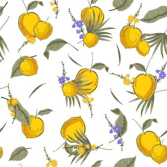 ファッション、布、ウェブ、壁紙およびすべての版画のベクターデザインで黄色いレモンイラストレーターとビンテージ熱帯シームレスパターン