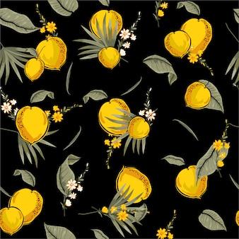 夏黄色の新鮮な熱帯のシームレスパターンファッション、布、ウェブ、壁紙およびすべての版画のためのベクトルデザインの夏オレンジイラストレーターとのシームレスなパターン
