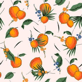 ファッション、布、ウェブ、壁紙およびすべての版画のベクターデザインで夏オレンジイラストレーターと明るく新鮮な熱帯のシームレスパターン