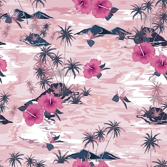 美しい島の夏の楽園のモノトーンビンテージピンク