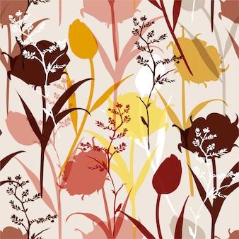 カラフルで明るい夏のシルエットの抽象的なシームレスパターン