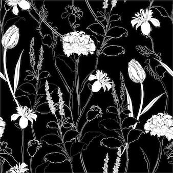 古典的な手描きのスケッチカーネーション黒と白のシームレスパターン