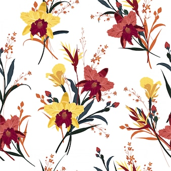 シームレスな咲く蘭、夏の花柄