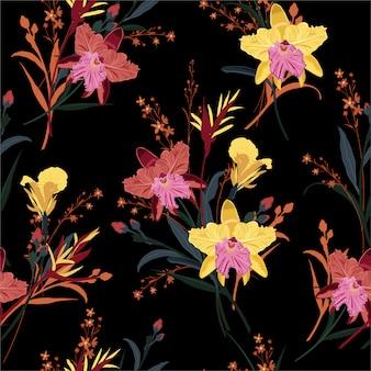 蘭の花の美しい庭の夜のシームレスパターン