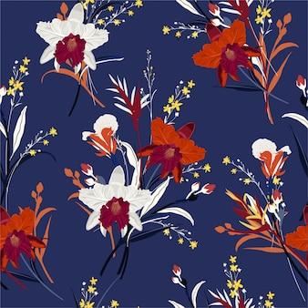 蘭の花のシームレスなパターンの美しい花束