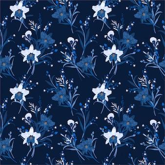 蘭の花とシームレスな花柄のブルーのモノトーン。手描きの背景イラスト