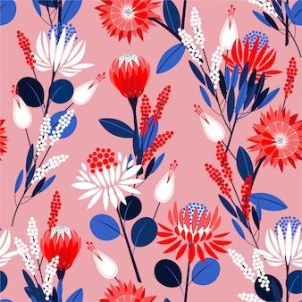 ファッション、壁紙、折り返しおよびすべての版画のためのベクターデザインの植物植物のシームレスパターンの完全な庭で咲くプロテア花