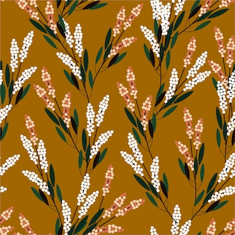 ファッション、布、版画、壁紙、およびすべての版画の小規模モダンなスタイルのデザインでレトロな草原の花のシームレスパターン