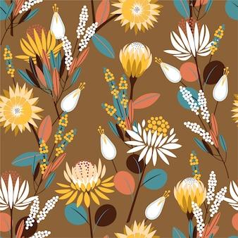 ファッション、壁紙、折り返しおよびすべての版画のための植物の植物のシームレスなパターン設計の完全な庭でヴィンテージ咲くプロテア花