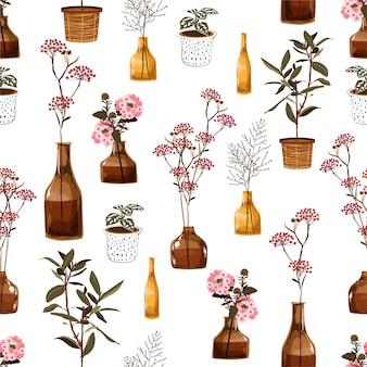花瓶、鍋で、植物のファッション、ファブリック、壁紙、ラッピング、すべてのプリントのための創造的な装飾的な花とトレンディなモダンなシームレスパターン