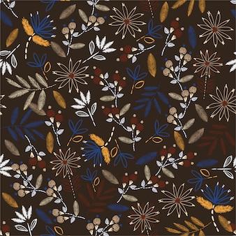 繊細な刺繍のヴィンテージムードハンドステッチ。伝統的な咲く刺繍。家の装飾、ファッション、布、壁紙およびすべての版画のベクトルイラストデザイン