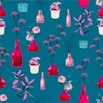 モダンな花と新鮮なピンクの花瓶、ファッション、布、壁紙、すべての版画のためのシームレスなパターン設計の植物植物図と鍋のスタイリッシュでハイコントラスト