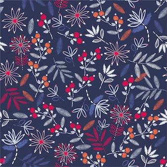 美しい刺繍ヴィンテージムードハンドステッチ。伝統的な咲く刺繍。家の装飾、ファッション、布、壁紙およびすべての版画のベクトルイラストデザイン