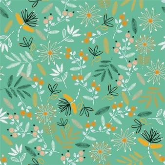 かわいい刺繍気分手ステッチシームレスパターン。伝統的な咲く刺繍。家の装飾、ファッション、布、壁紙およびすべての版画のベクトルイラストデザイン