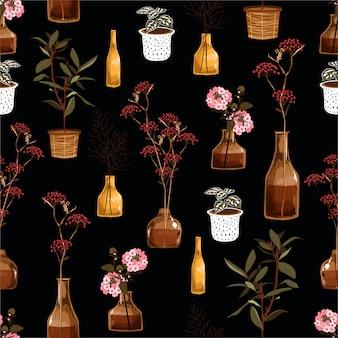 花瓶、鍋、植物のファッション、布、壁紙、ラッピング、すべての印刷物のための創造的な装飾的な花の美しいシームレスパターン