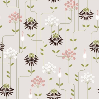 ラインとレトロな花のシームレスパターン。ファッション生地、壁紙、すべての版画の装飾デザイン