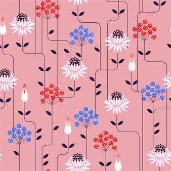 花と線の飾りでレトロな気分。ファッションの生地、壁紙、およびすべての版画のためのシームレスなパターン設計