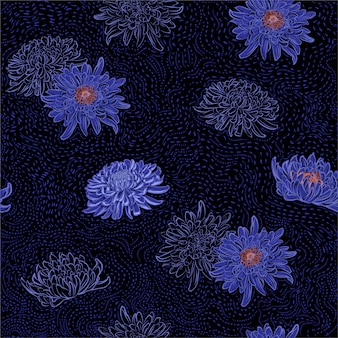 手描きのブラシ線シームレスパターンと菊東洋咲く花の暗い夏の夜