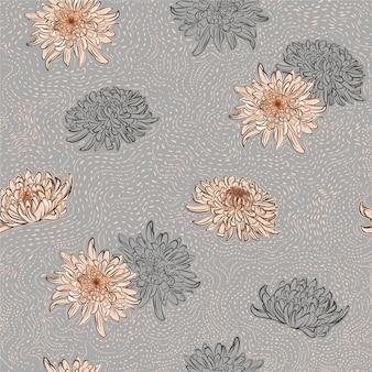 Большой розовый цветущий цветочный узор с цветами хризантемы и линией цветов с кисточкой в горошек