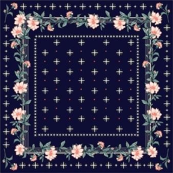 カラフルなショール、スカーフプリント。ラインと幾何学的なバンダナスタイルのシームレスなパターンと咲く庭の花の背景。