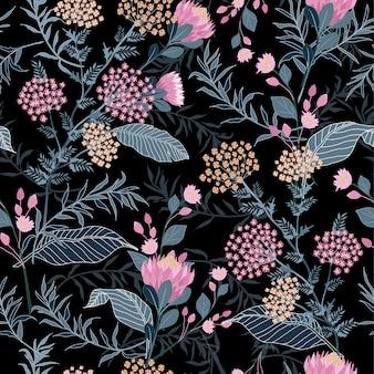 シームレスなピンクの花と葉パターンベクトル。