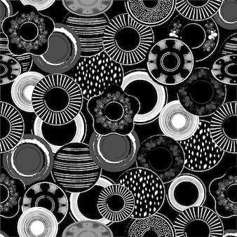 手のスタイリッシュなモノトーンの黒と白のイラストには、磁器料理パターンシームレスパターンが描かれています。
