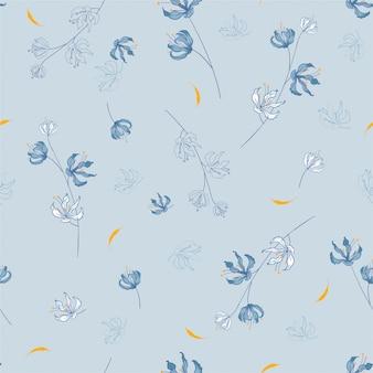 ランダムに散らばって咲く植物モチーフのブロッサム花柄。シームレスなテクスチャ。