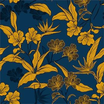 手描きのエレガントな植物パターン