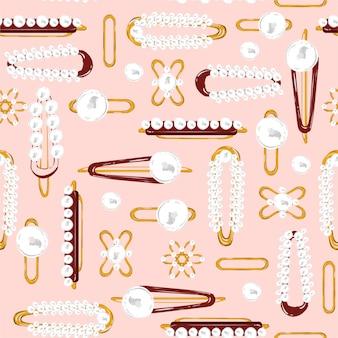 Красивые винтажные заколки и заколки для волос в жемчужно-золотистой металлической иллюстрации