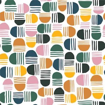 Красочный абстрактный бесшовные модели рисованной геометрических элементов, полукруг и полосатый грандж текстуры.