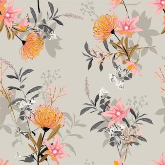 甘い気分と植物咲く庭のシームレスパターンのヴィンテージのトーン