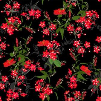 美しい赤い庭の花のパターン。植物モチーフはランダムに散らばっています。シームレスなベクターテクスチャ。ファッションプリント用。手描きスタイルでの印刷